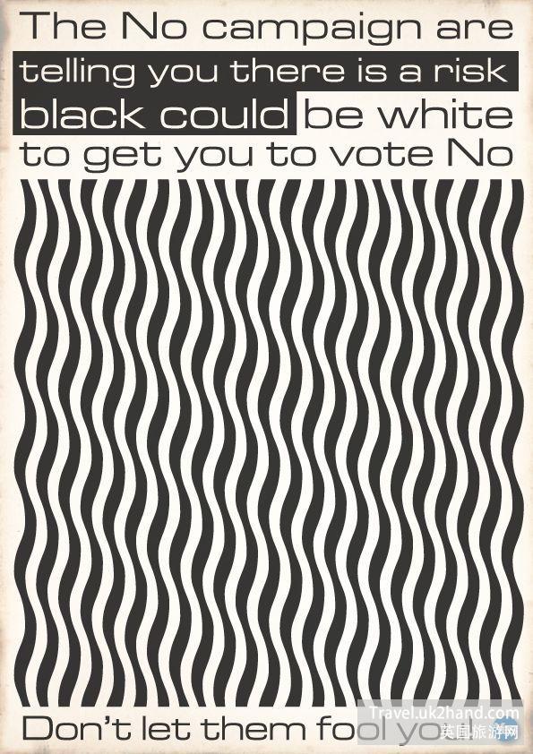 这张海报运管用了光谱艺术来传达英国人不可信的信息,是不是非常文艺?(在屏幕上上下活动会有特效)