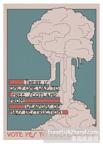 这张海报中的冰激凌其实是核弹爆炸的蘑菇云,独立的苏格兰要对核武器 Say No。