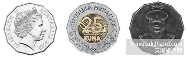 从左到右分别是:澳大利亚的 50 分澳元硬币,克罗地亚的 25 库纳硬币和汤加的 50分硬币。