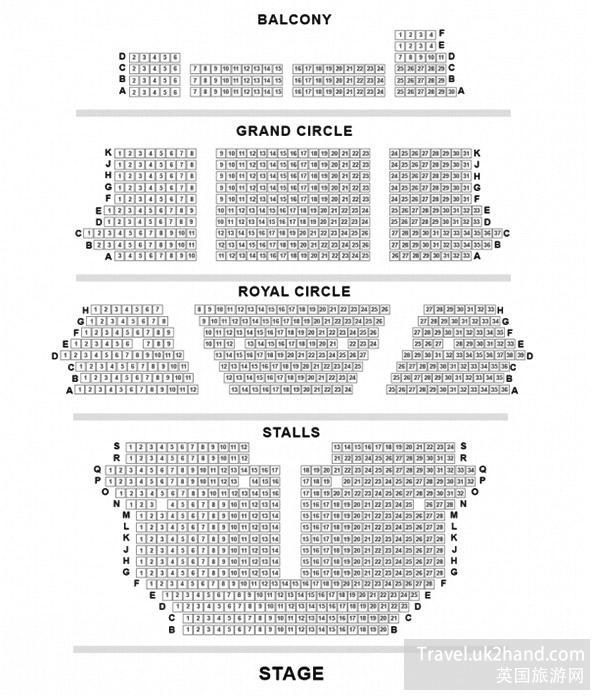 伦敦剧院座位平面图