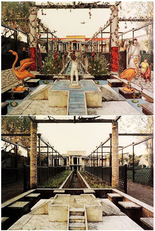 图:庞贝古城花园复原图。以古罗马文化为基础构建而来的别墅花园是不列颠诸岛早期最主要的花园风格。其鲜明特征在于与住宅、享乐的紧密关联,充满理学结构美的对称式设计,并伴随喷泉、雕塑等景观元素