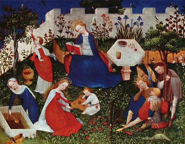 图:中世纪晚期的封闭式花园,作者 Meister des Frankfurter Paradiesgärtleins。贵族们在城堡内的空地上布置实用性庭园,外形封闭,最初以实用为主,主要栽种蔬菜、果树等。到中世纪后期,兴盛的东方花卉文化逐渐西传,基督教的清规戒律有所减弱,这才发展出更多装饰和游乐的性质。