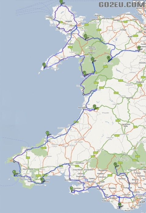 威尔士海岸旅游计划