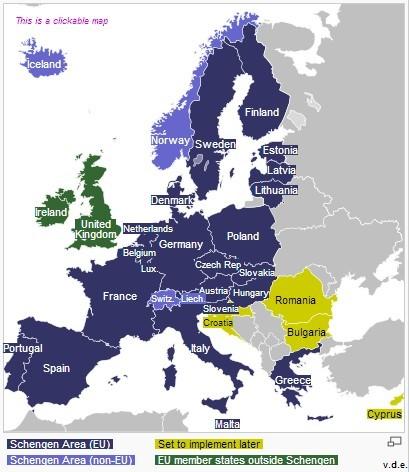 欧洲申根国地图