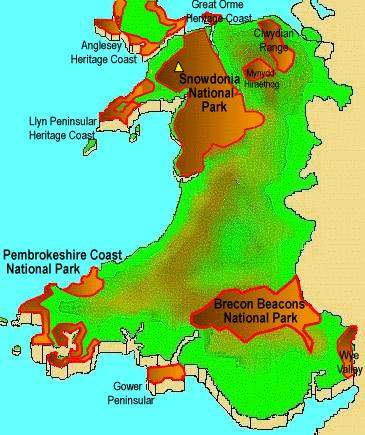 威尔士国家公园地图