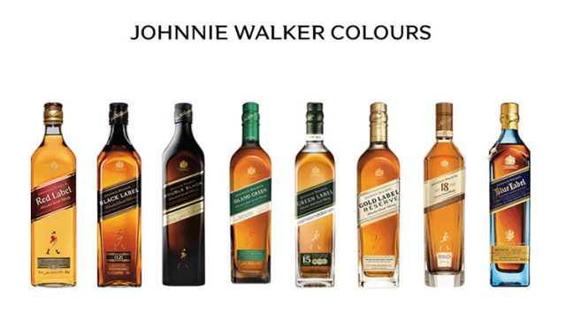 Johnnie Walker (尊尼获加)的红方、黑方、绿方、蓝方等
