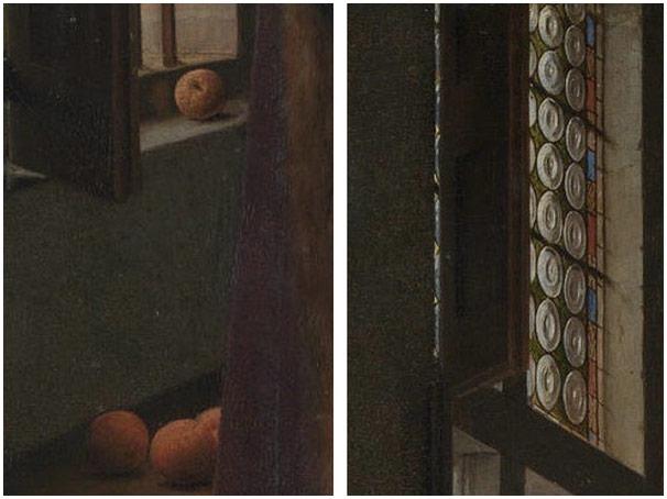 画中左侧的四个橘子 以及 画中窗户的玻璃窗花