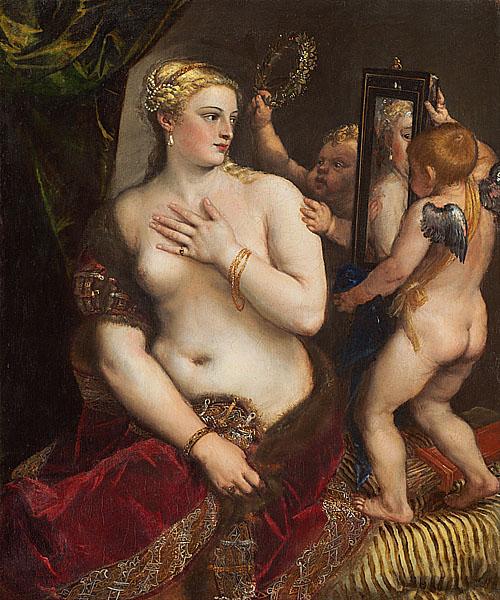 提香的《镜中的维纳斯》,现藏于美国国家美术馆