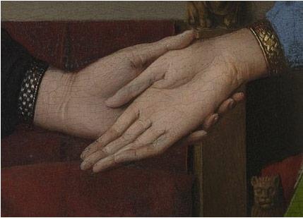 画作中夫妇两人相携的手