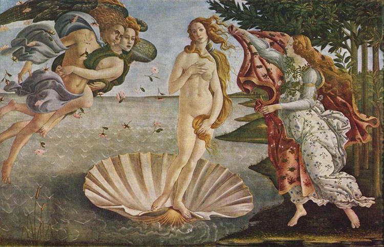 波提切利的《维纳斯的诞生》,现藏于意大利佛罗伦萨乌斐齐美术馆