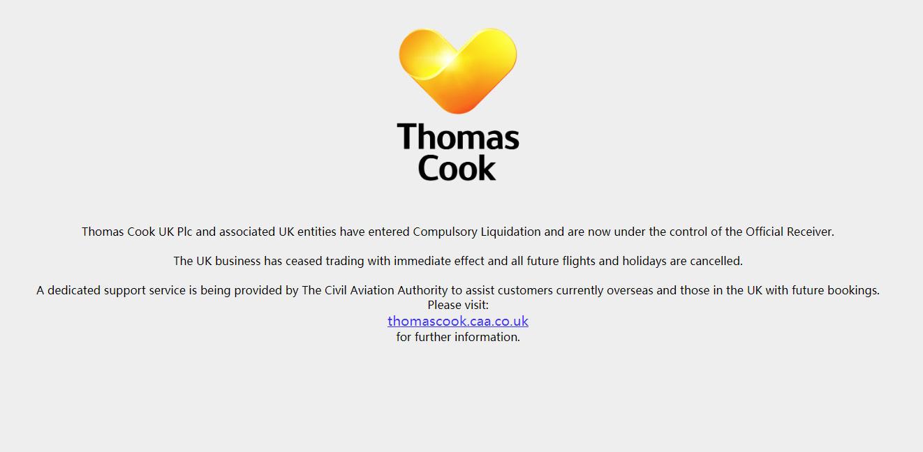 Thoms Cook 网站通告