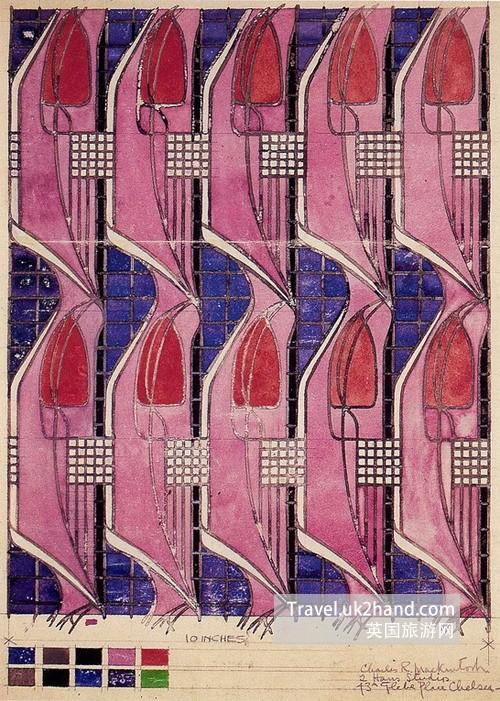 Tulip and lattice textile 1915