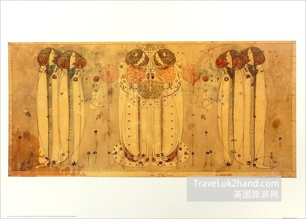 Mackintosh的绘画作品和门头浮雕
